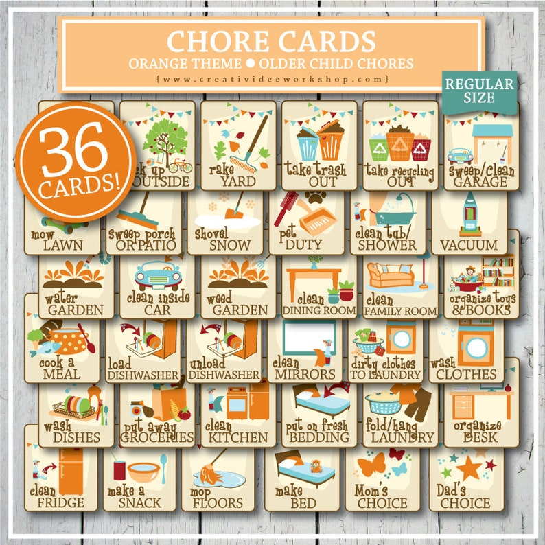 photo relating to Printable Chore Cards identified as Printable Chore Playing cards for More mature Young children, Orange, 36 Playing cards and Chart, Print at House