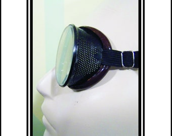 Vintage Safety Goggles With Ventilated Black Metal Frames And Brown Accent. Clear Lenses