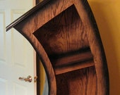 Handmade 6ft Curved Bookshelf/Bookcase/Storage/Oak Stained/Blk
