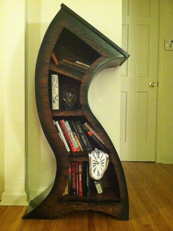 Free Shipping Handmade 4ft Curved Bookshelf Oak Stained Blk