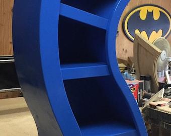 Free Shipping/Handmade 4ft Curved Bookshelf, Blue