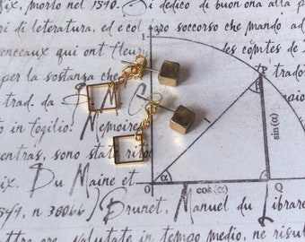 Iner - Square Ear Jacket Post Earrings; Gold Brass Geometric Studs Double Front Back Tiny Geo 3D Cube (Boucles Carré Laiton) by InfinEight