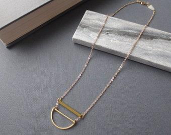 Juniper - Half Moon Necklace; Gold Brass Semi-Circle, Bar and Quartz Triangle Dreamy Boho (Collier Lune Sautoir en Laiton) by InfinEight