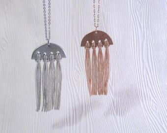 Amia – One Handmade Rose Gold Geometric Tassel Necklace or Silver Clay Ceramic Pendant on Long Chain (Sautoir Géométrique) by InfinEight