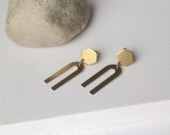 Rune - Modernist Brass Earrings; Honeycomb U Geometric Drop Studs; Arch and Hexagon Arc Geo Post Earring (Boucles en Laiton) by InfinEight