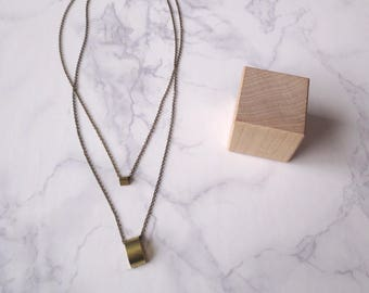 Vendra - Double Tier Geometric Pendant Necklace; Two Layered Brass Chains & Three-Dimensional Geo Pendants (Collier Multirang) by InfinEight