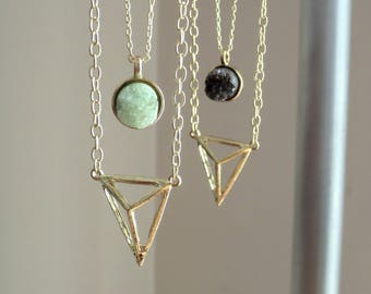 Druzy - One Layered Necklace with Green or Black Crystal Layering Gold Tone Double Layer Pendants (Collier Multirang Cristal) by InfinEight