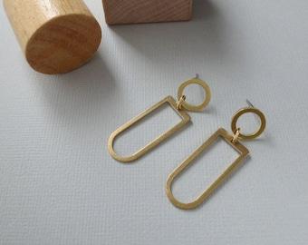 Ocarina - Sculptural Brass Earrings; Post Circular Closed Arc Drop Earrings; Arch & Circle Stud Earring (Boucles Géométriques) by InfinEight