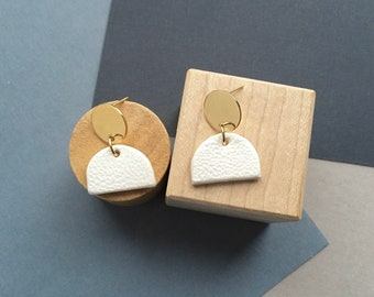 Trewyn - Sculptural Modern Geometric Bright Brass & Clay Earrings; Cream and Gold Post Stud Earring with Circle + Semi-Circle by InfinEight