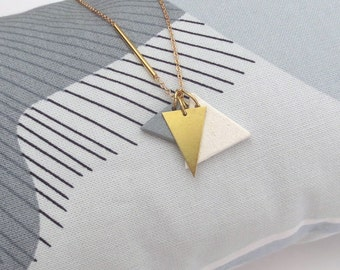 Kien - Minimalist Gold Color Block Long Geo Necklace; Sculptural Contemporary Cream & Grey Clay Triangles (Sautoir Triangle) by InfinEight