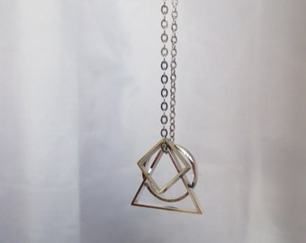 Convex - Silver Geometric Necklace with Triangle, Circle and Square Pendants on Stainless Steel Chain (Collier Géométrique) by InfinEight
