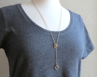 Scala - Tiny Gold Geometric Y Necklace with Triangle & Square; Math Jewelry Geo Pendants in Lariat Shape (Collier Géométrique) by InfinEight