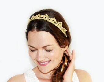 Bohemian Wedding Headpiece, Gold Crown, Lace Crown Headband, Gold Bridal Tiara, Princess Crown, Gold Headband Adult, Gold and Silver Crown