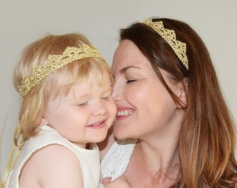 Mommy Baby Crown Headband Lace, Mother Daughter Birthday Crowns, Mom and Baby Matching Headband, Baby Mommy Matching Gold Headband Crown