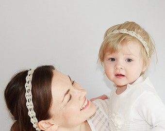 Baby Mommy Matching Gold Headband Simple, Baby Shower Gift, Gold Headband Little Girls, Mom and Baby Headbands Gold, Christmas Headbands