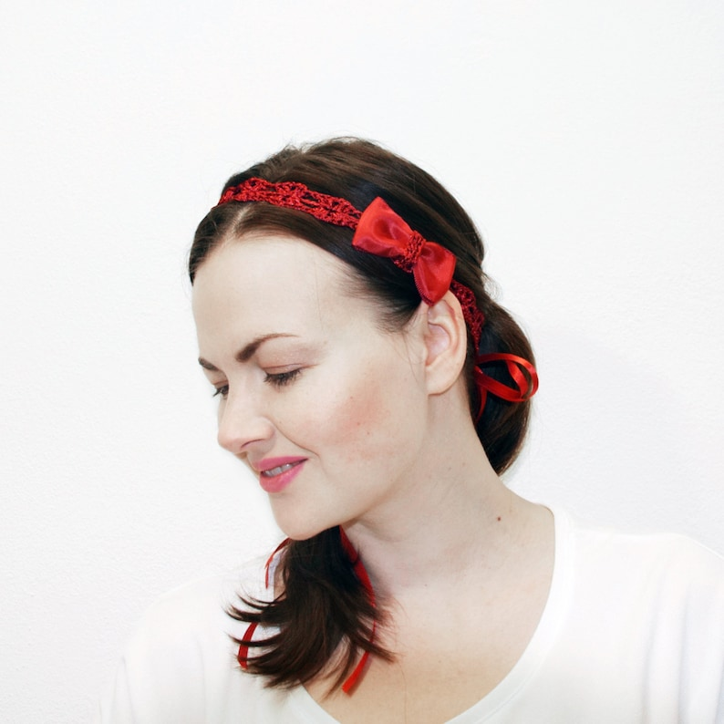 Red Headband Women Gift for Her Hair Bows Hair Accessories  9c2cbbee484