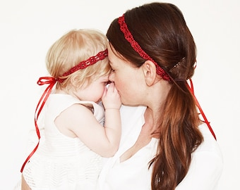 Matching Mommy Daughter Headbands, Red Mommy and Me Headband Set of 2, Photo Props for Baby and Mommy, Mother Daughter Matching Headbands