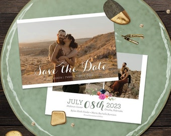 Wedding Save The Date- Magenta Sage Rust and Navy Florals- Customized Digital Files or Printed - 00013