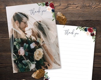 Thank You Wedding Card 5x7 - Navy Blush Burgundy Cranberry Wine Watercolor Florals - Customized Digital File or Printed Pieces - 0001