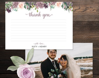 Thank You Wedding Card 5x7 - Purple Mauve Blush Rose Gold Lavender Florals - Customized Digital File or Printed Pieces - 0003