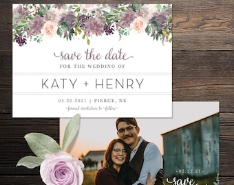 Save The Date- Purple Mauve Blush Rose Gold Lavender Florals - Customized Digital Files or Printed Pieces - 0003