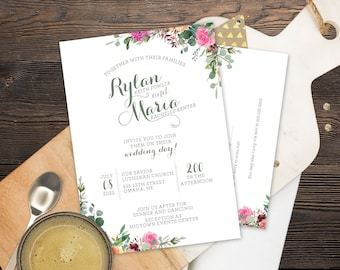 Wedding Invite Set- Magenta Sage Rust and Navy - Customized Digital Files or Printed Pieces - 0013