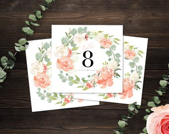 Printed Wedding Table Numbers- Eucalyptus Blush - 0008