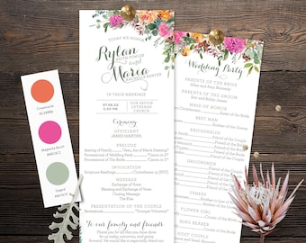 Wedding Programs- Magenta Sage Rust and Navy Florals- Customized Digital Files or Printed - 0013