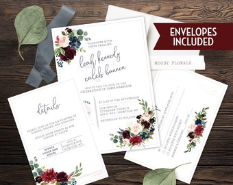Wedding Invite Set- Blush Navy Wine Cranberry Burgundy Florals- Customized Digital Files or Printed Pieces - 0001
