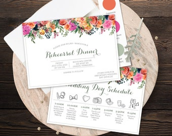 Rehearsal Invite 5x7 - Magenta Sage Rust and Navy - Customized Digital File or Printed - 0013