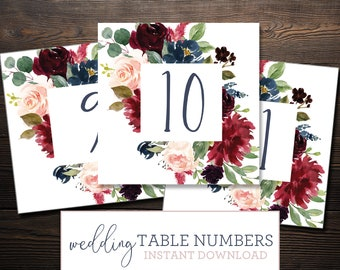 Instant Wedding Table Numbers Printable- Navy Blush Wine Burgundy Cranberry Watercolor Florals - 0001