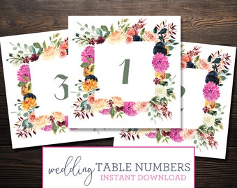 Instant Wedding Table Numbers Printable- Magenta Sage Rust and Navy Florals - 0013