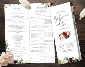 Folded Wedding Program (Catholic Compatible) - Navy Blush Burgundy Cranberry Wine Florals- Customized Digital Files or Printed Pieces - 0001