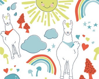 Llama Drama Seamless Vector Pattern and Elements