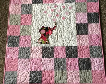 Elephant with Hearts Baby Quilt, Made to Order