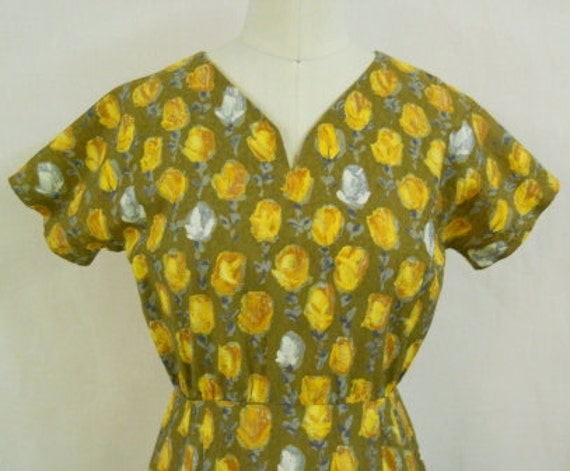 "Vintage Late 40's ""Yellow Roses"" Dress"