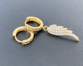 Angel Wing Earrings Mismatched, Gold Huggie Hoops With Single Wing Charm, Dangle Earrings Unisex, Charm Hoop Earrings With CZ Diamonds.