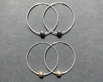 Sterling Silver Hoop Earrings with Charm, Large Hoop Earrings, Beaded Hoop Earrings, Boho Earrings, Mixed Metal Earrings Charm Hoop Earrings