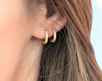 Gold Huggie hoop earrings, small hoop earrings, gold plated silver earrings single or pair, tiny hoop earrings w/ CZ for men or women