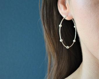 Beaded Earrings Hoops, Sterling Silver Hoop Earrings, Statement Earrings, Bohemian Earrings, Oversized earrings, Large Silver Hoop Earrings