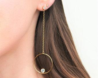 Long Dangle Earrings 14K Gold Filled with CZ Diamond Studs, Statement Earrings, Long Gold Earrings, Extra Long Chain Earrings Dangle Drop
