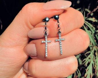 474cdd503 Cross earrings dangle, Sterling silver cross earrings, cross charm Sterling  silver earrings CZ, dainty earrings minimalist for him for her