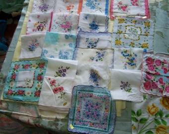 Vintage style Floral handkerchiefs; 1 dozen different handkerchiefs- various assortments