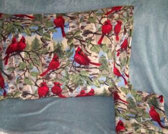 So cozy & warm fleece pillow cases in standard size; cardinals in trees; winter