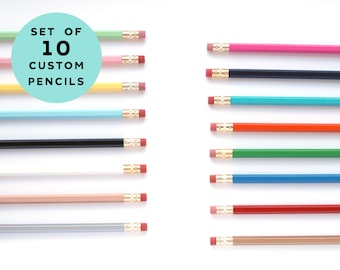 Custom Pencils - Stocking Stuffer - Set of 10 Pencils - Personalized Pencils - Choose Your Color and Wording