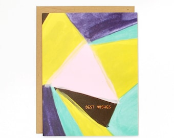 Best Wishes Card - Copper Foil Congratulations Card - Abstract Painted Card