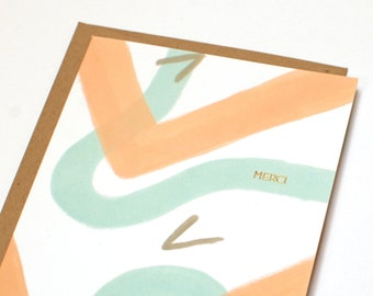 Abstract Thank You Card - Gold Foil Thank You Card - Merci