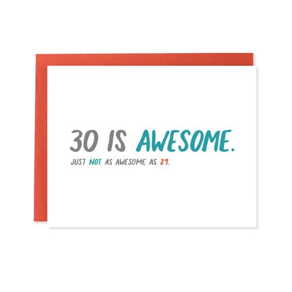 SALE 30th Birthday Card Thirtieth Funny