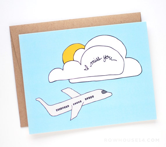I Miss You Card - Thinking of You Card - Long Distance Relationship Card - I Love You Card - C-033