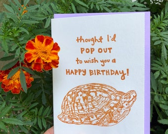 TURTLE BIRTHDAY CARD, Hand Drawn Animal, Box Turtle, Woodland Critter, Nature, Letterpress, Quirky, Cheerful, Sweet, Fun, All ages, Kids